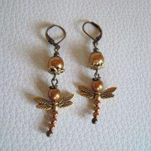 Kit Boucles d'oreilles Libellule perles cuivre