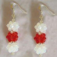 Kit pour Boucles d'oreilles de Noël rouge et blanc