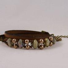 Kit bracelet cuir 2 tours perles Silky vert bronze