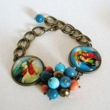 Kit bracelet cabochons Jésus et Marie sur chaîne