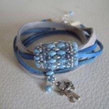 Bracelet en kit Saipan bleu sur cuir