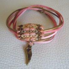 Bracelet en kit Saipan rosé sur cuir