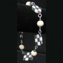Bracelet Tila Damier Bleu/écru  en kit