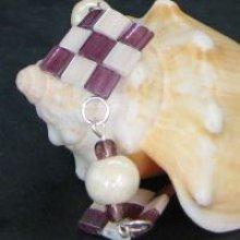 Bracelet Tila Damier Violet/écru  en kit