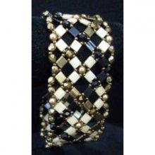 Bracelet Tila tressé Noir doré en kit