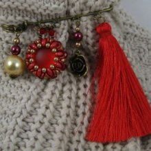 Broche en kit Queensland Rouge Pompon