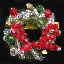 Broche Couronne de Noël rouge en kit