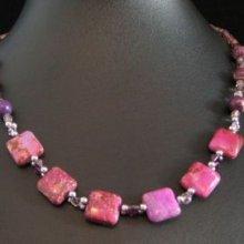 Kit pour collier aux carrés Jaspe violet