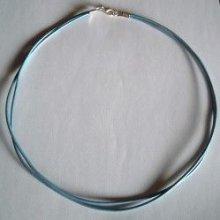 Kit collier double cordons cuir Bleu