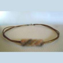 Kit collier triple cordons cuir Bronze