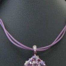 Kit collier double cordons cuir Violet