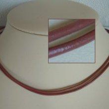 Kit collier double cordons cuir Vieux rose