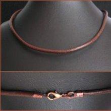 Collier cordon large cuir marron en kit
