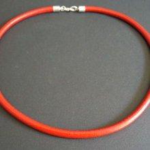 Collier cordon large cuir rouge en kit