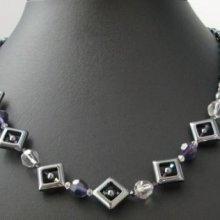 Kit collier Carrés d'hématites Violet