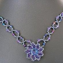 Collier Syros bleu irisé en kit