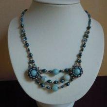 Collier en kit Twinétoile Amazonite en Twin beads