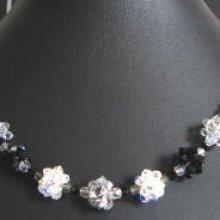 Kit collier en boules de perles noir/argent