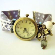 Montre bracelet en kit tissus et dentelle