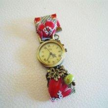 Kit montre bracelet Liberty Coquelicots et breloques