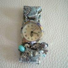 Kit montre bracelet Liberty et perles gris/bleu