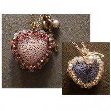 Pendentif  en kit Coeur pierre de lave diffuseur
