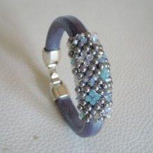 Bracelet cuir épais et perles Swarovski Bleu en kit