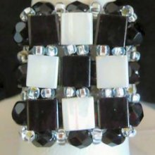 Kit bague carrée Tila Noir & blanc