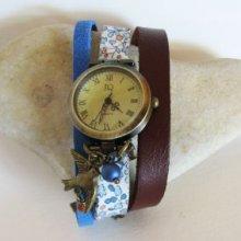 Kit montre bracelet Liberty Cuir Oiseau