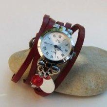 Montre bracelet multi cuir rouge breloques rouge