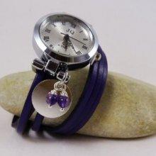 Montre argentée cuir violet perles en améthyste