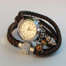 Montre bracelet double cordage argenté bronze