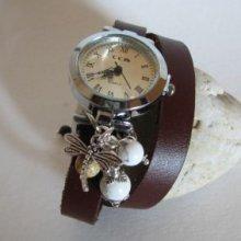 Montre bracelet double cuir marron Libellule et perles