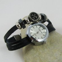 Montre mixte bracelet cuir noir Croix malte