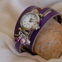 Montre cuir Violet cascade de perles nacrées