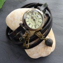 Montre bracelet 5 tours cuir perle lave à parfumer