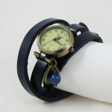 Montre bracelet Pétale et perle Lapis Lazuli