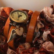 Montre bracelet triple cuir Caramel Aile d'ange