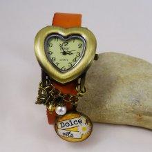 Montre coeur vintage  Cabochon+ boucles d'oreilles