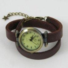Montre bracelet double cuir marron