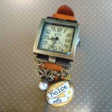 Montre carrée vintage cuir Cabochon et perles
