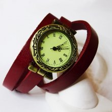 Montre bracelet cuir 3 tours Sobre cadran  gravé