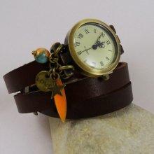 Montre bracelet cuir breloques Love sequin long