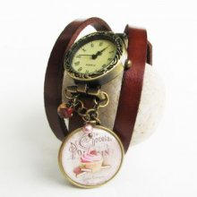 Montre cuir Marron cabochon Gourmand chocolat