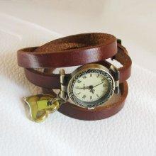 Montre bracelet cuir pendentif céramique