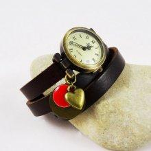 Montre bracelet Coeur et sequin rouge