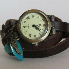 Montre bracelet cuir 3 tours Marron et Turquoise
