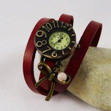Montre cadran original bracelet cuir et noeud
