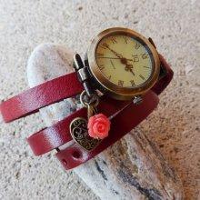 Montre bracelet cuir rouge, coeur et rose rouge