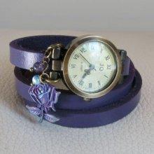 Montre bracelet cuir Violet à la Rose patinée